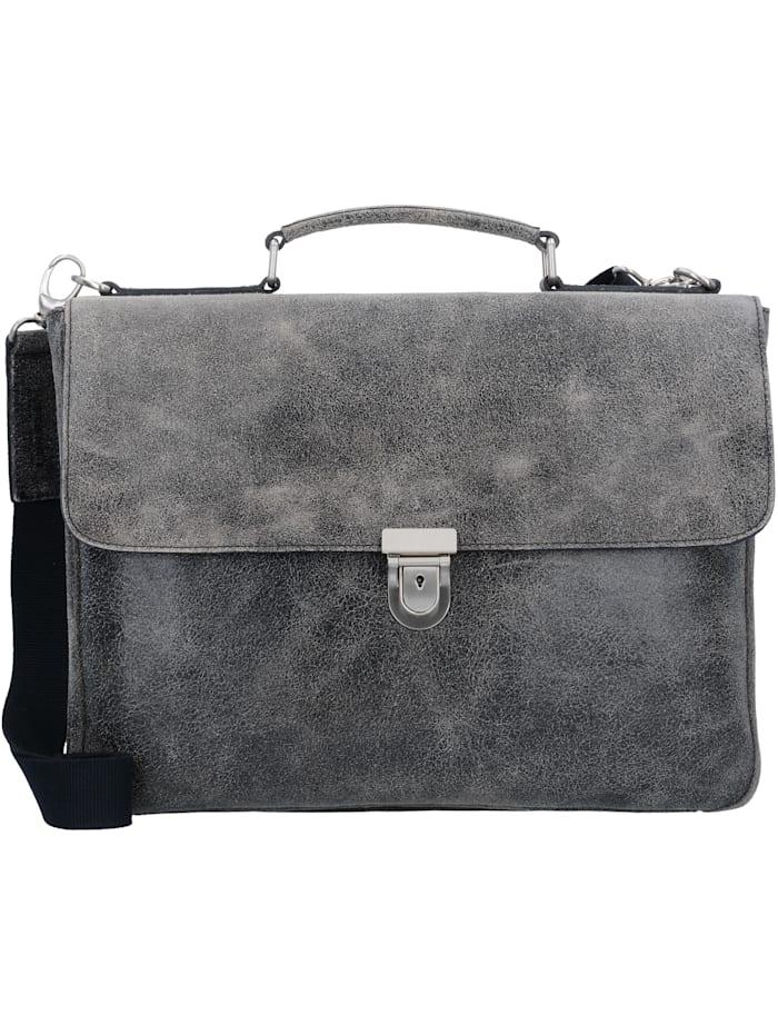 Leonhard Heyden Boston Aktentasche Leder 39 cm Laptopfach Tragegriff, Stiftelaschen, Schlüsselhalter, Fächer für A4 Unterlagen, grau