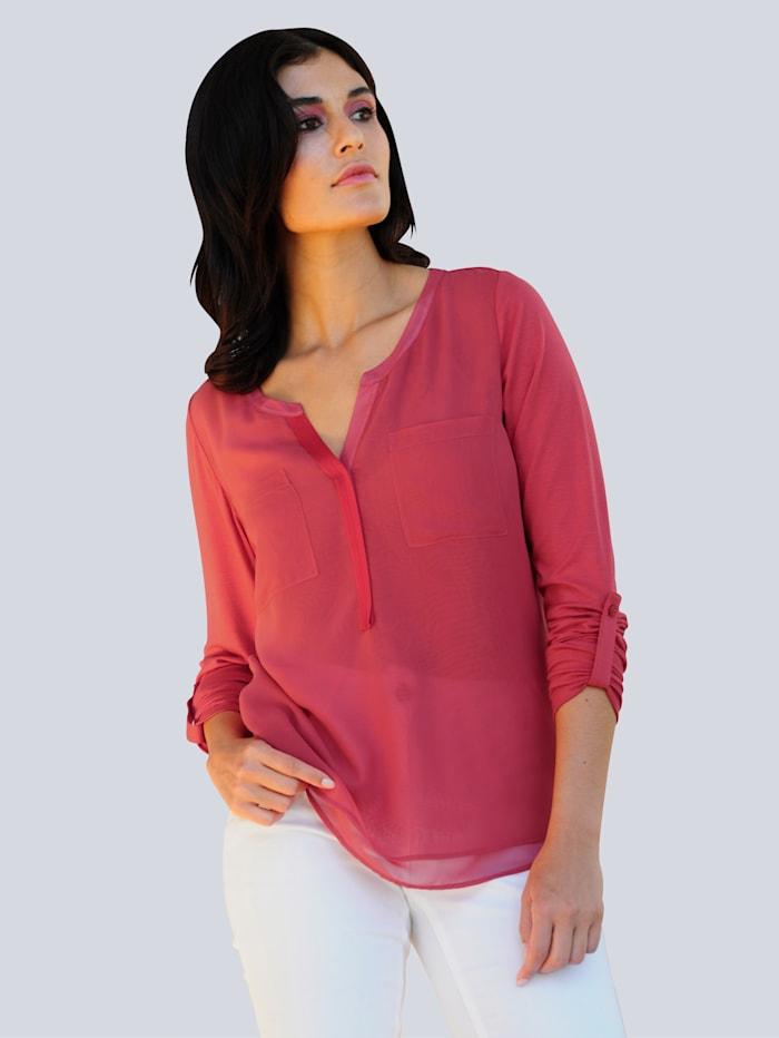 Alba Moda Shirt im Material-Mix, Koralle