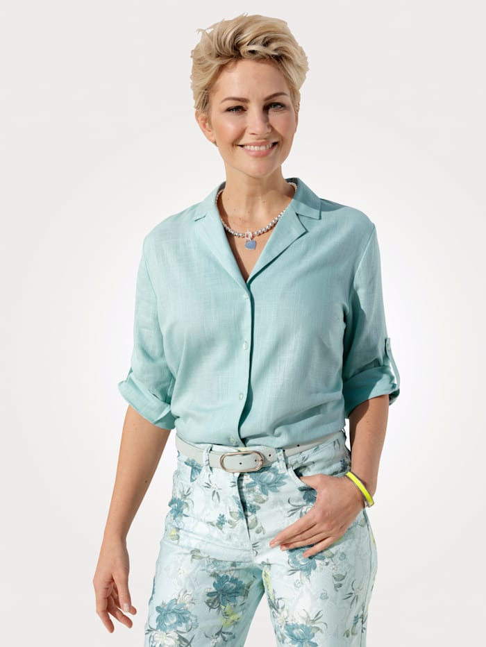 MONA Blouse with a touch of lightweight linen, Ice Blue