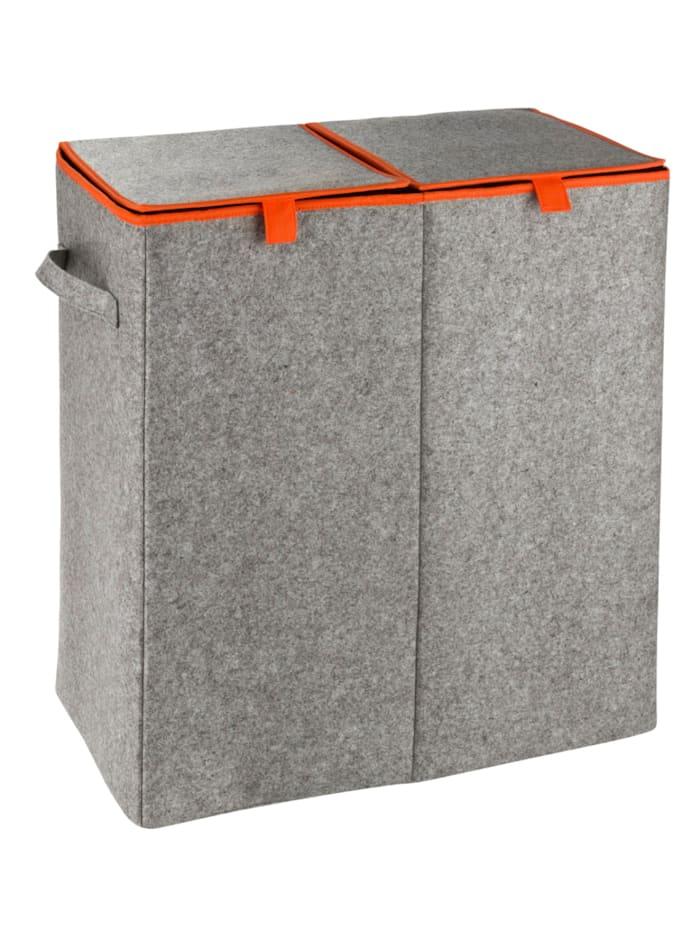 Wenko Wäschesammler Filz Duo Grau/Orange, Wäschekorb, 2 Kammern, 82 l, Behälter: Grau, Futter: Orange