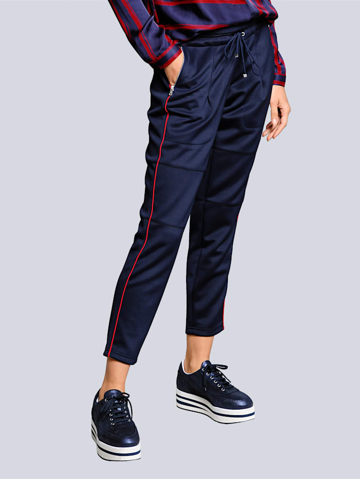 Alba Moda Hose im aktuellen Joggpantstyle, Blau/Rot