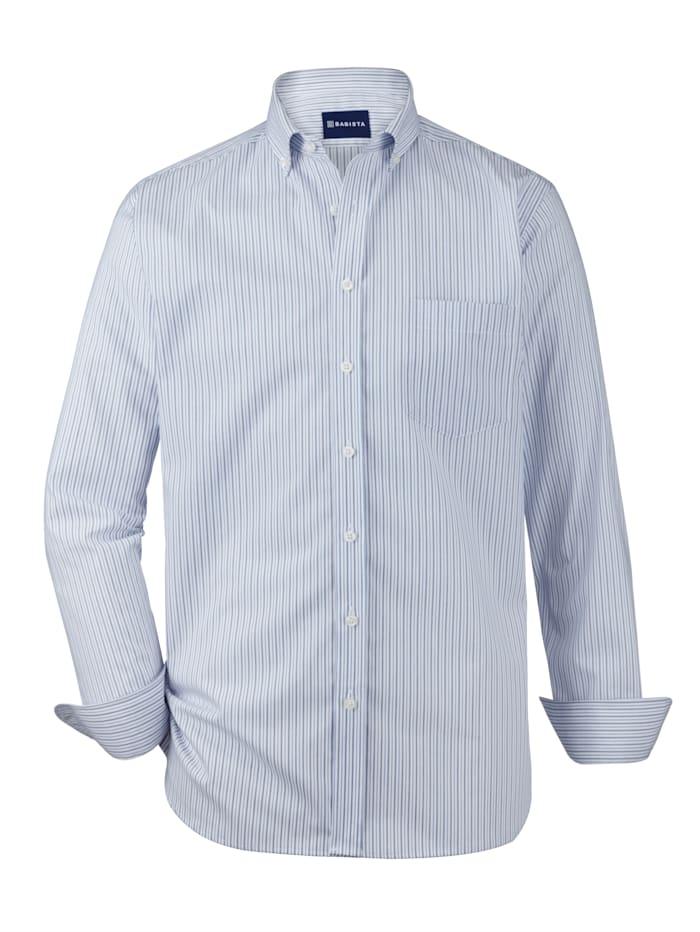 Babista Premium Chemise dans une qualité haut de gamme, Blanc/Bleu