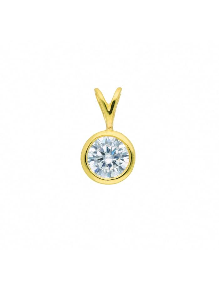 1001 Diamonds Damen Goldschmuck 333 Gold Anhänger mit Zirkonia Ø 6 mm, gold