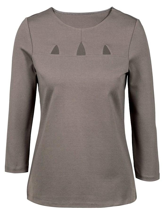 Alba Moda Shirt mit modischen Cut-Outs, Taupe