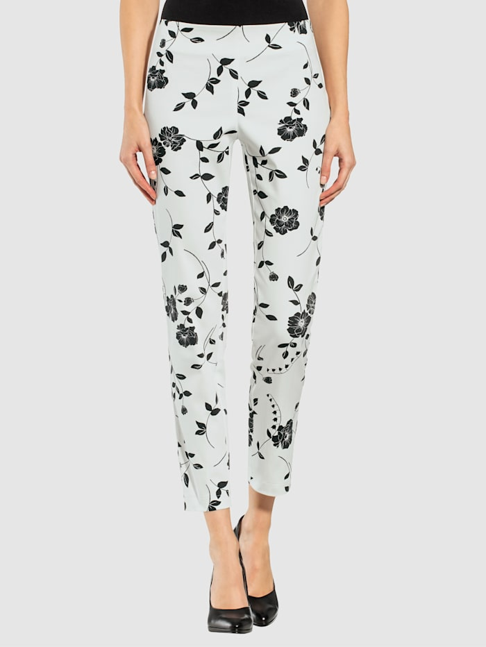 Alba Moda Hose mit Blumen-Muster allover, Weiß/Schwarz