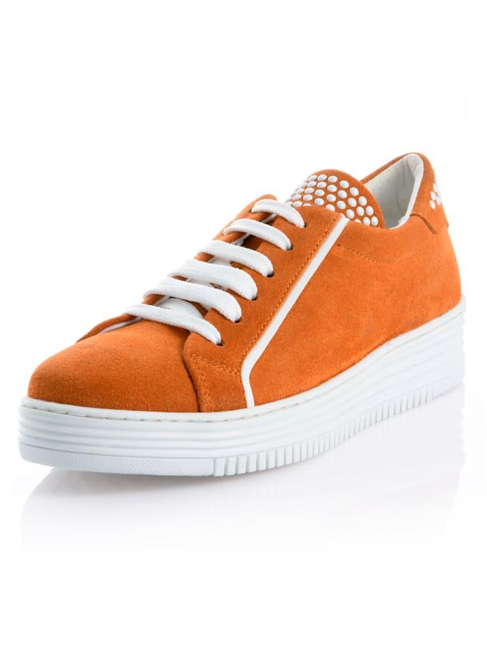 Alba Moda Sneaker mit Ziernieten, Orange