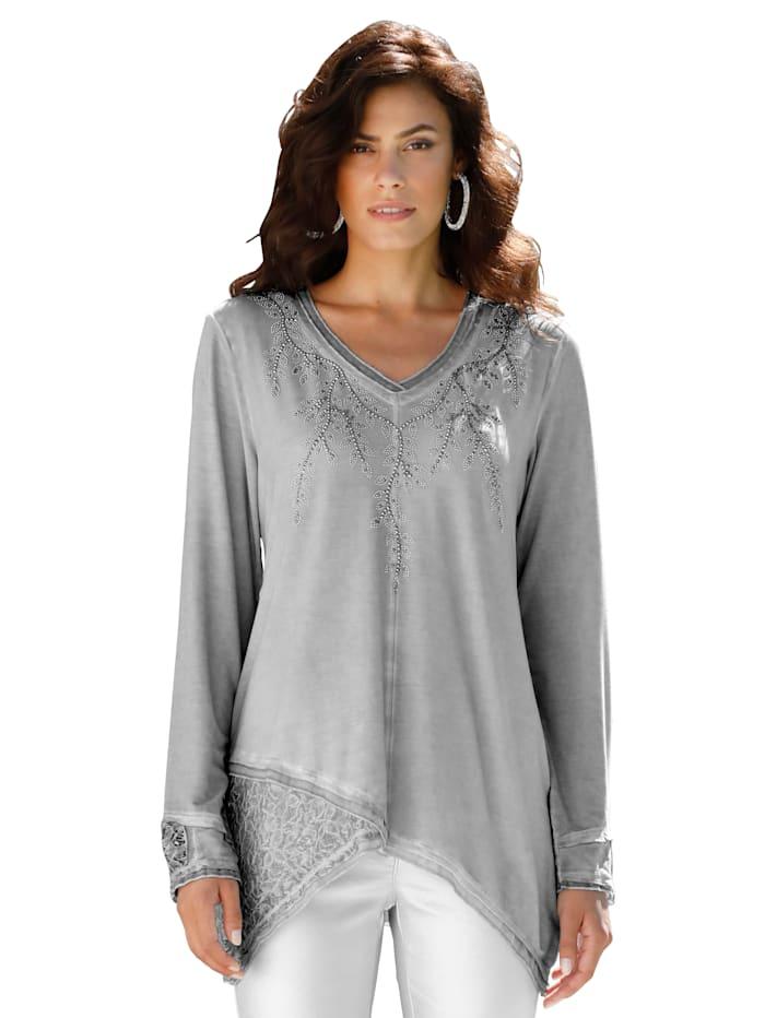 AMY VERMONT Shirt mit Spitze, Grau