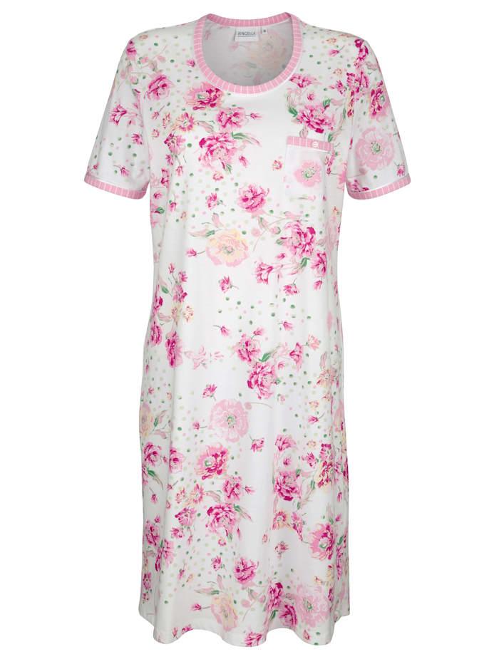 MONA Nachthemd mit gestreiften Kontrasten am Halsausschnitt und den Ärmelabschlüssen, Weiß/Rosé/Grün