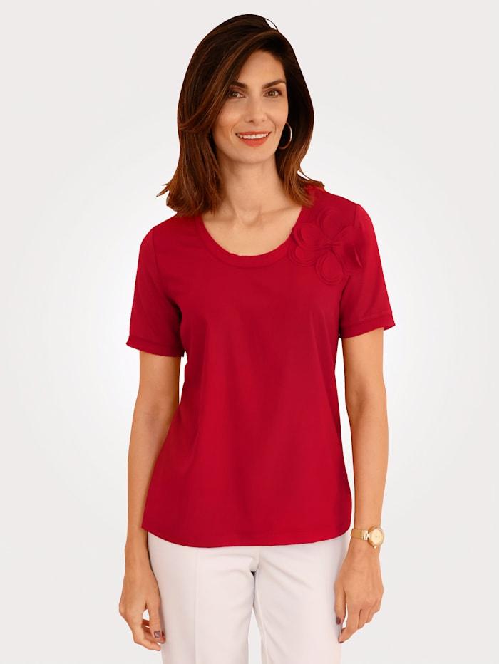 MONA Shirt mit Chiffonblüte am Ausschnitt, Rot