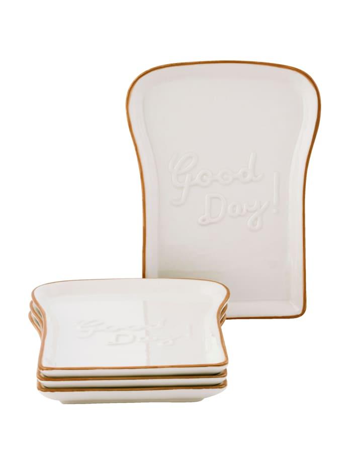 IMPRESSIONEN living Toast-Teller-Set, 4-tlg., weiß/braun