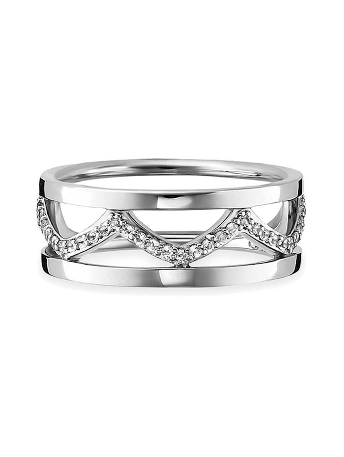 CAI Ring 925 Sterling Silber Topas weiß rhodiniert 0,080ct 925 Sterling Silber   Klingel