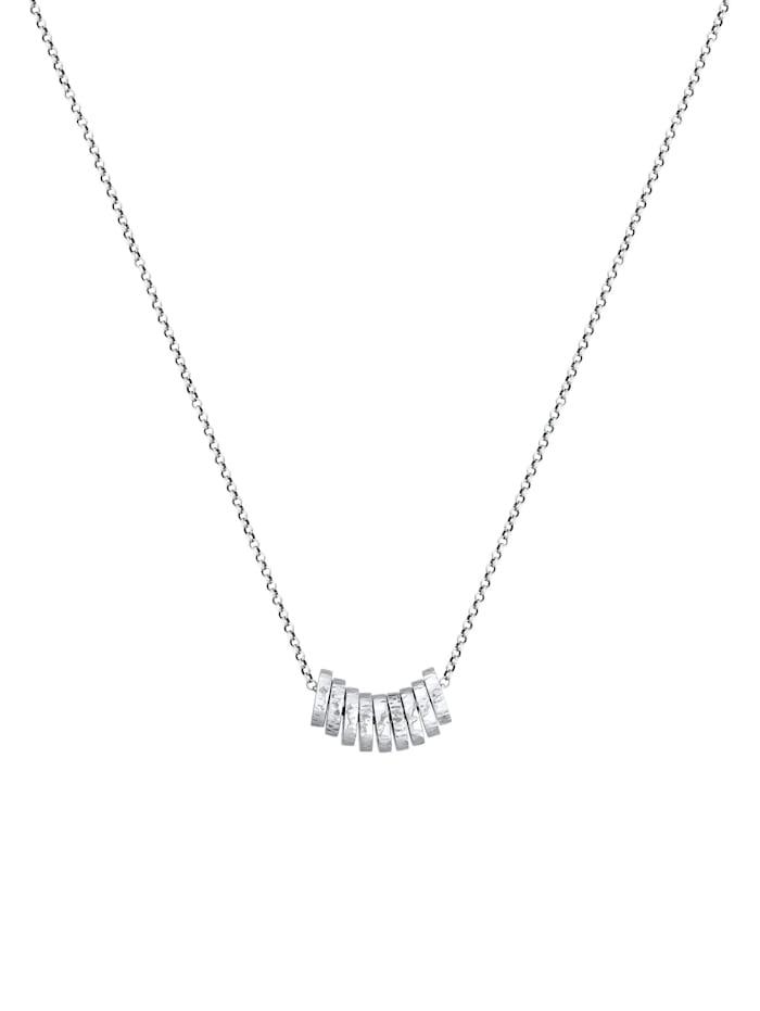 Halskette Herren Erbskette Gehämmert Ringe Basic 925 Silber