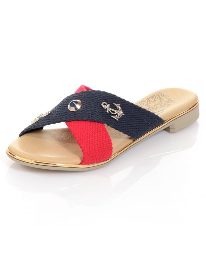 Alba Moda Pantolette besetzt mit maritimen Applikationen, Marineblau/Rot