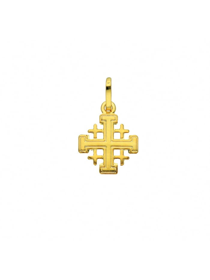 1001 Diamonds Damen & Herren Goldschmuck 585 Gold Kreuz Anhänger Jerusalem, gold