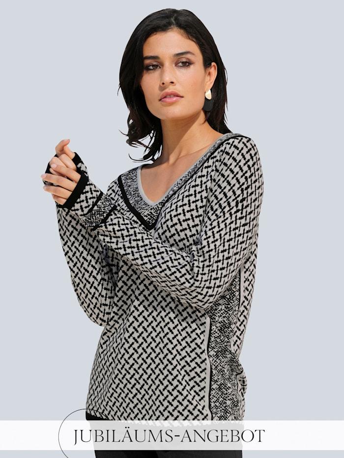 Alba Moda Pullover im exklusiven Print, Schwarz/Grau