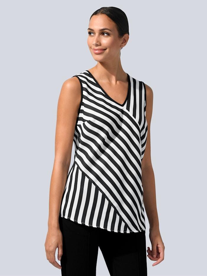 Alba Moda Top v prúžkovanom dizajne, Biela/Čierna