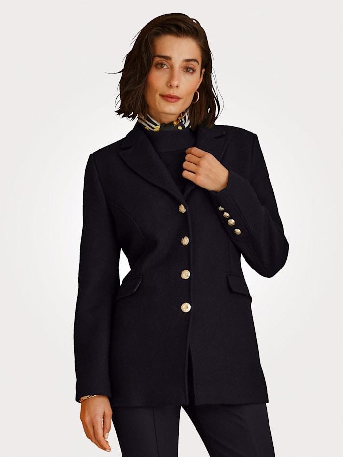 MONA Veste en drap de laine mélangée avec boutons dorés ornés d'armoiries, Noir