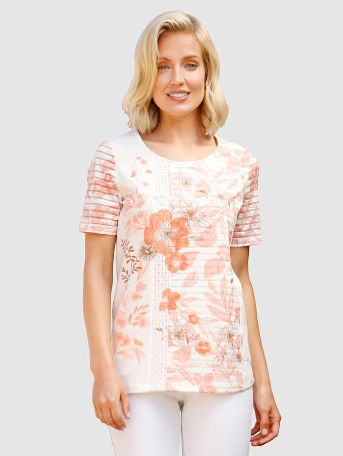 Paola Shirt van een materialenmix, Apricot/Roze