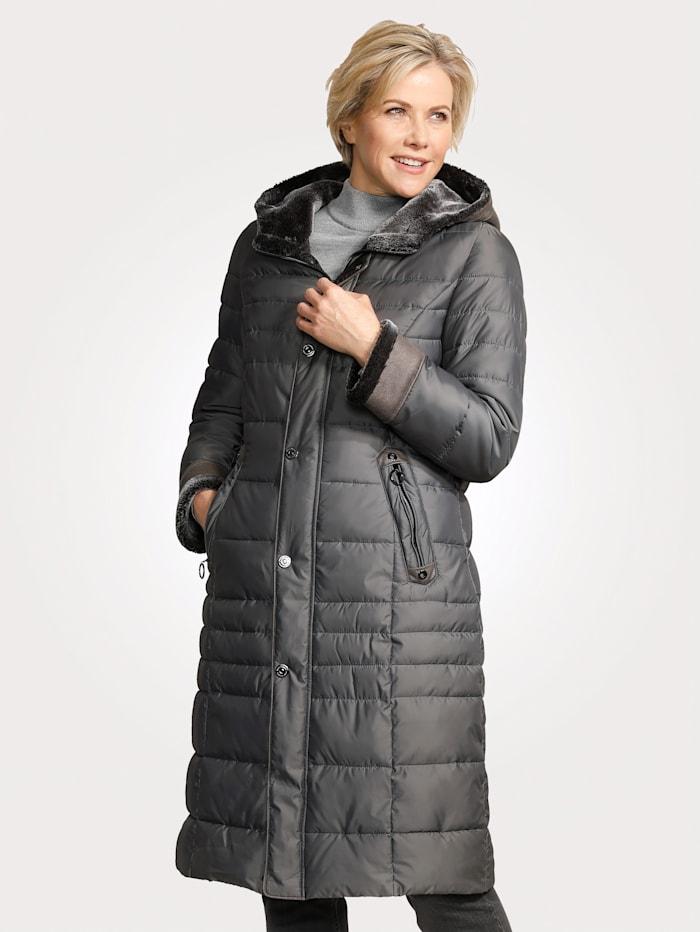 Barbara Lebek Doorgestikte mantel met details van imitatievacht, Grijs