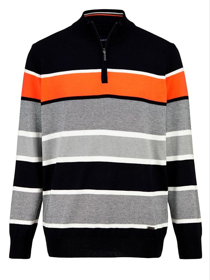 BABISTA Pull-over à motif rayé tissé-teint, Marine/Orange