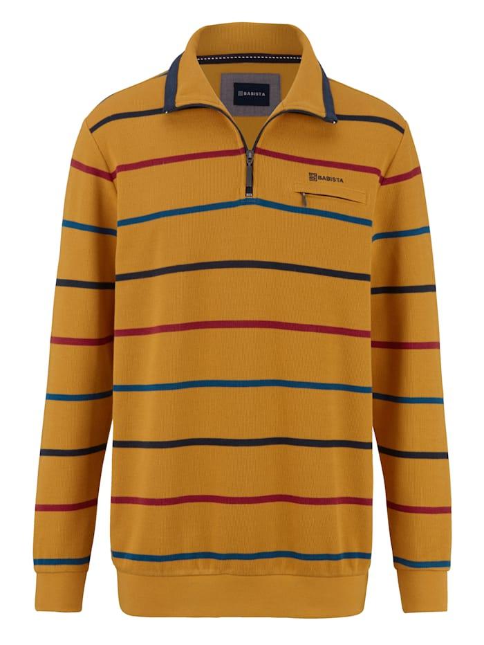 BABISTA Sweatshirt mit garngefärbtem Streifendessin, Maisgelb/Marineblau