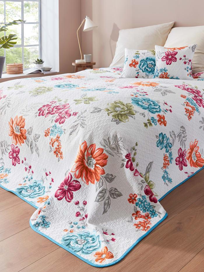 Webschatz Bettüberwurf 'Flora', weiß bunt