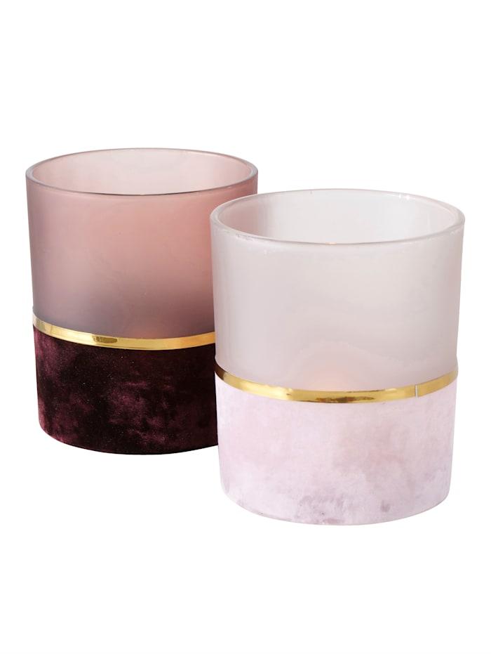 IMPRESSIONEN living Windlicht-Set, 2-tlg., Bordeaux/Rosé/Goldfarben
