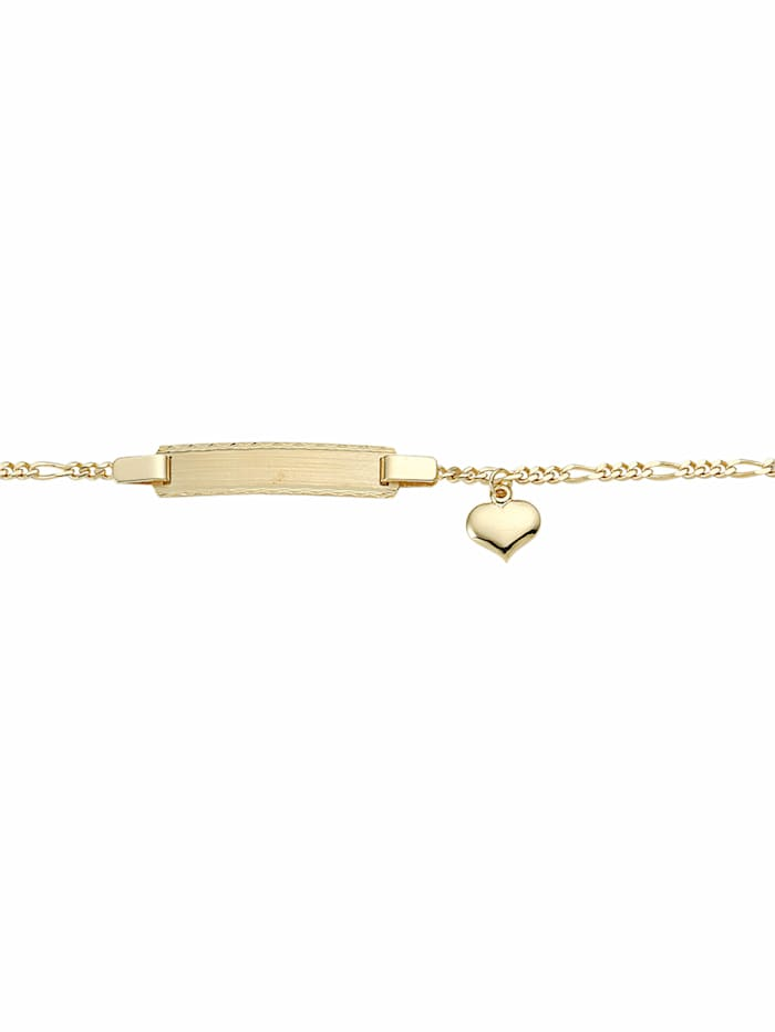 1001 Diamonds 1001 Diamonds Damen Goldschmuck 585 Gold Figaro Armband Mit Motiven 16 cm, gold