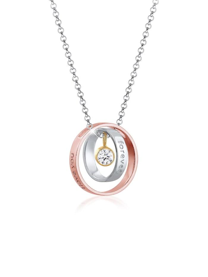 Elli Halskette I Love You Forever Wording Bi-Color 925Er Silber, Silber