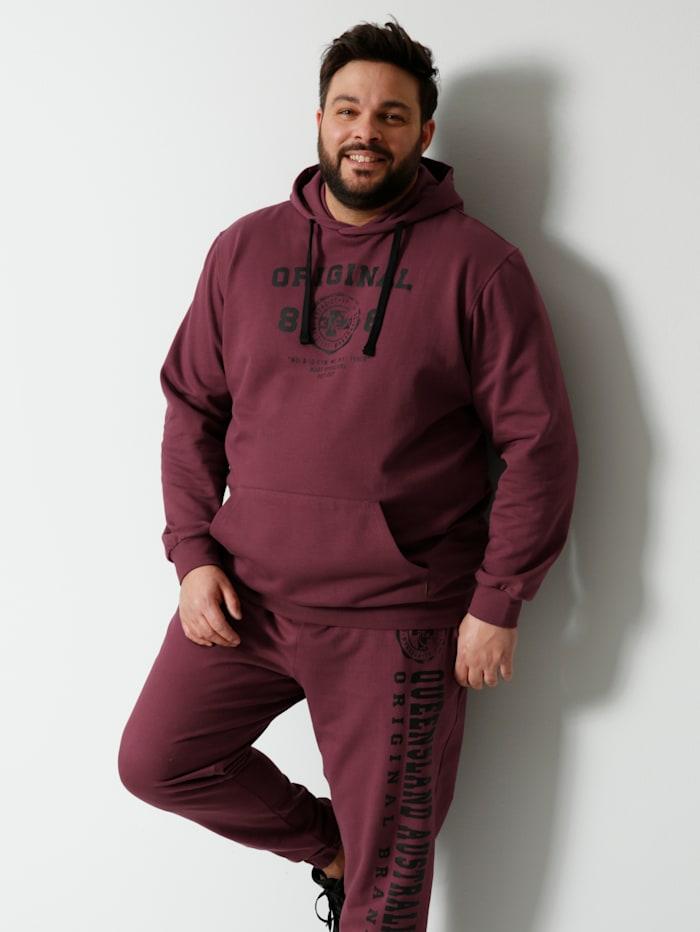 Men Plus Kapuzensweatshirt aus reiner Baumwolle, Bordeaux