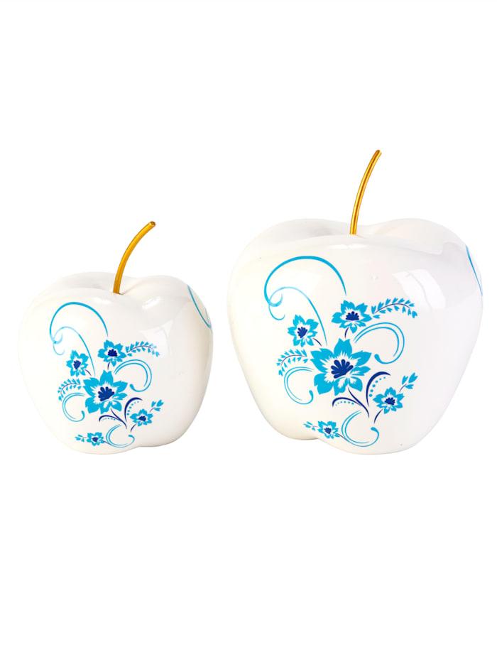 IMPRESSIONEN living Deko-Apfel Set, 2-tlg., weiß/blau