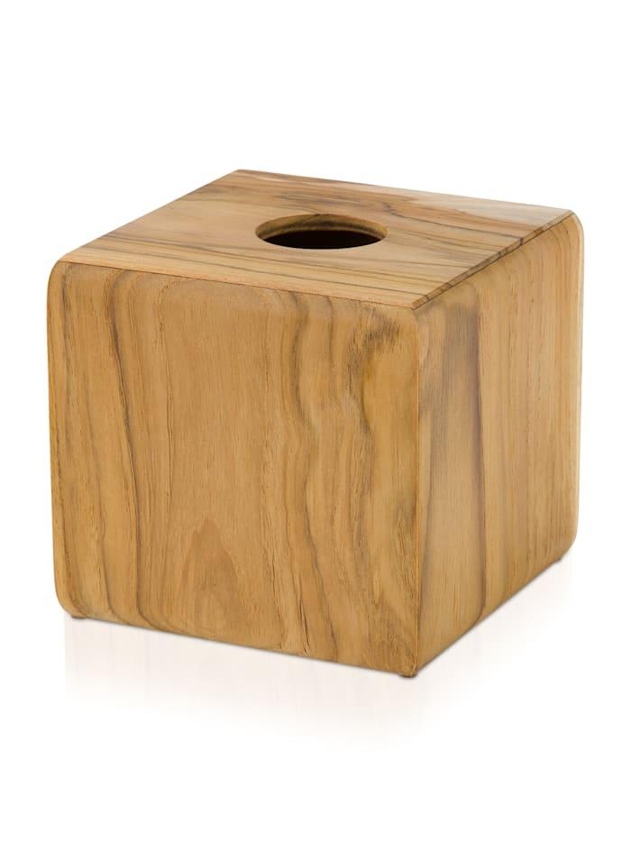 Möve Kosmetiktuchbox Teak 14x14x13cm , Teakholz, wood