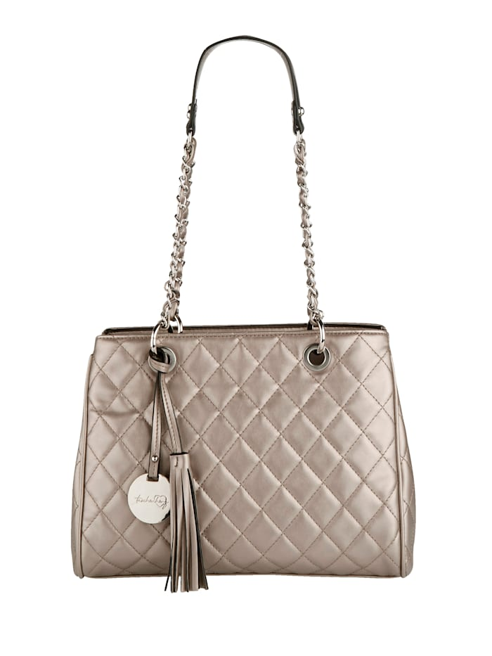 Taschenherz Väska med dekorativa kviltsömmar, Bronsfärgad