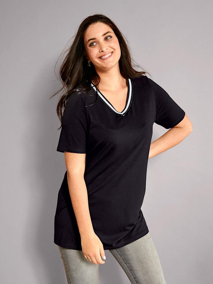 MIAMODA Shirt met sportieve sierband aan de hals, Zwart