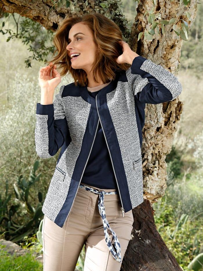 Paola Blazer in Bouclé-Qualität, Marineblau/Ecru