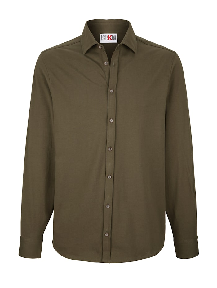 Roger Kent Jerseyhemd mit durchgehender Knopfleiste, Oliv