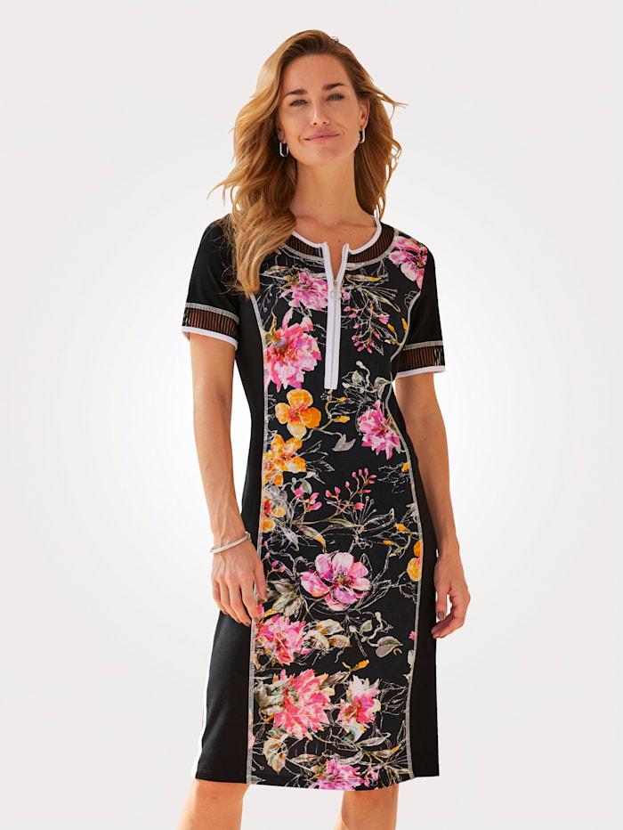 MONA Jerseykleid mit Kontrastverarbeitung, Schwarz/Pink/Orange