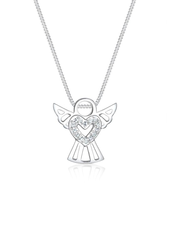 Elli Halskette Engel Herz Kristalle 925 Silber, Silber