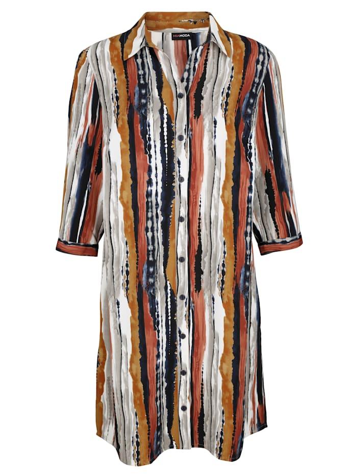 MIAMODA Lang bluse med grafisk mønster, Multicolor