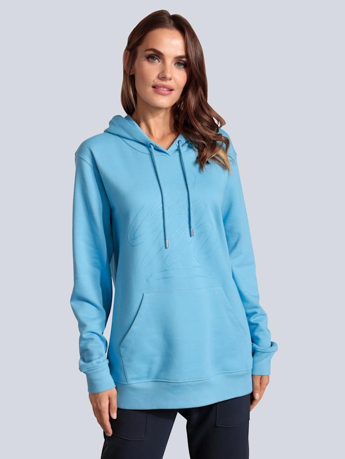 MARGITTES Sweatshirt mit gummiertem Silhouettenmotiv, Blau