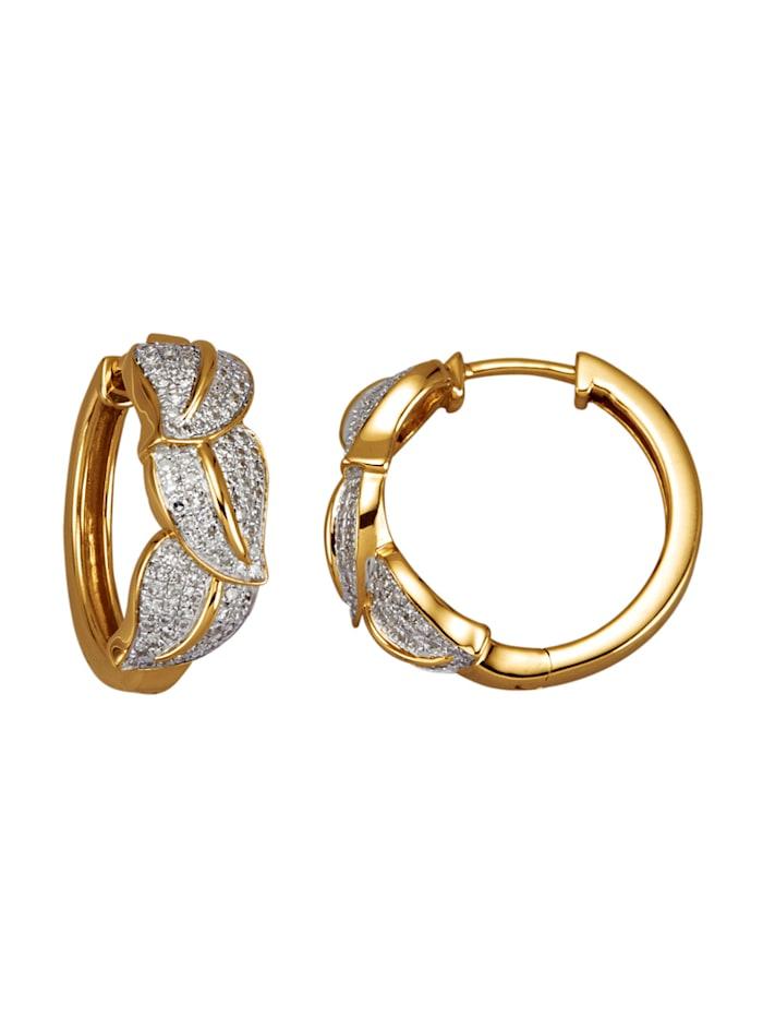 Diemer Diamant Klappcreolen in Gelbgold 585, Weiß