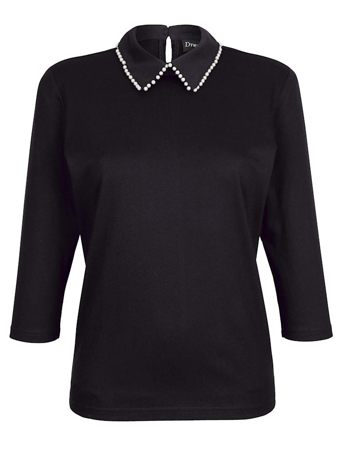 Dress In Shirt mit Perlen, Schwarz
