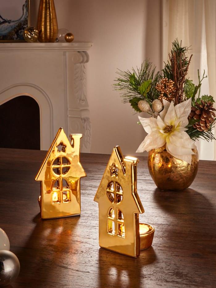 Dekoration, 2 små hus, Guldfärgad