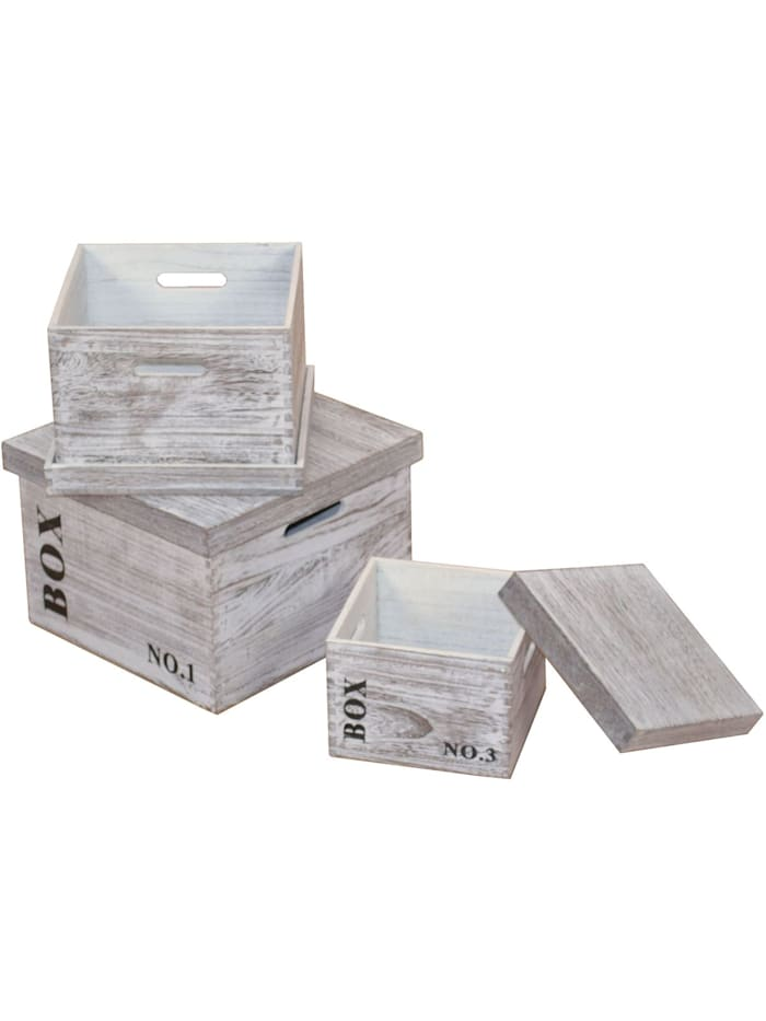 3tlg. Holzkisten-Set BOX