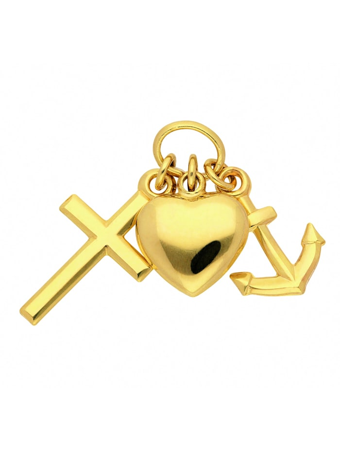 1001 Diamonds Damen Goldschmuck 585 Gold Anhänger Glaube-Liebe-Hoffnung, gold