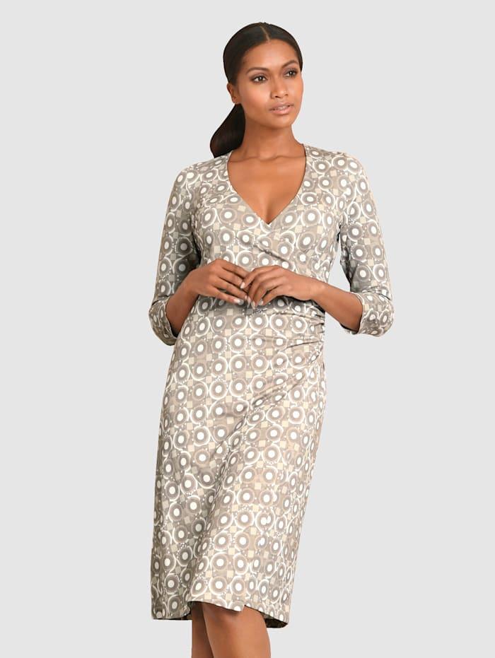 Alba Moda Kleid mit femininer Raffung seitlich in der Taille, Taupe