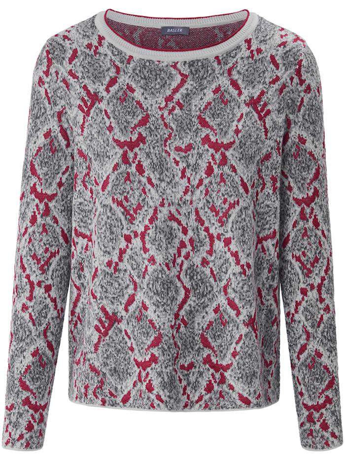 Basler Jacquard-Pullover mit Snake-Print, grey/pink