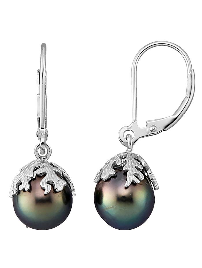 KLiNGEL Ohrringe mit Süßwasserzuchtperlen, Schwarz