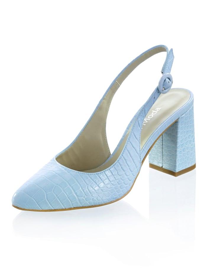 Alba Moda Slingpumps aus Ziegenleder, Hellblau