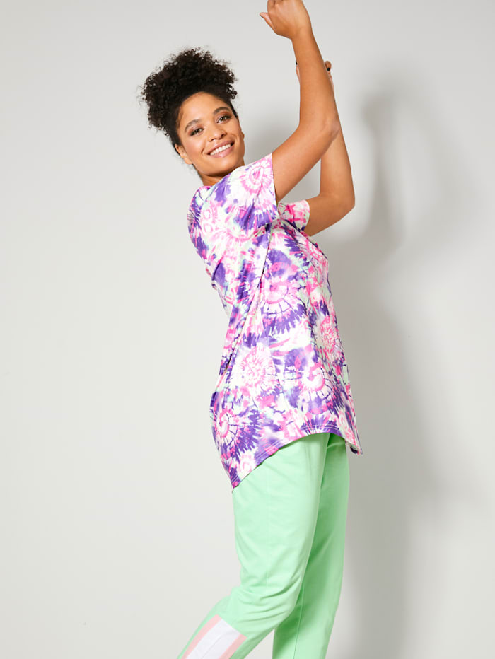 T-shirt long à imprimé batik devant et dos